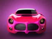 ピンクの背景に赤い高級 brandless スポーツ車 — ストック写真