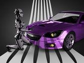Robô de carro e mulher de esporte brandless de luxo — Fotografia Stock