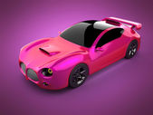 Red luxury brandless sport car on pink background — Stock Photo