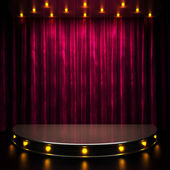 Red curtain stage with lights — Stock Photo