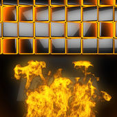 Hot black metal background with fire — Foto de Stock