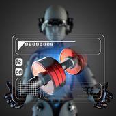 Cyborg woman manipulatihg hologram display — Stock fotografie