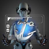 Cyborg woman manipulatihg hologram display — Stock Photo