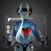 Cyborg woman manipulatihg hologram display — Stock Photo
