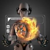 Cyborg vrouw manipulatihg hologram weergeven — Stockfoto