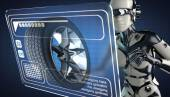 Cyborg Frau Manipulatihg Hologramm display — Stockfoto