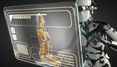サイボーグの女性とホログラムの表示 — ストック写真