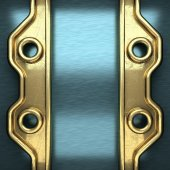 Blue metal background with yellow element — Stock Photo