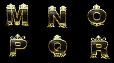 альфа петли спутанный золотой алфавит — Стоковое видео