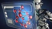 Cyborg woman and hologram display — Stock Photo