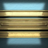 Blue metal background with yellow element — Stok fotoğraf