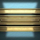 黄色の要素を持つ青い金属の背景 — ストック写真