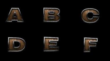 Loop alpha matted metal alphabet — Vídeo de Stock
