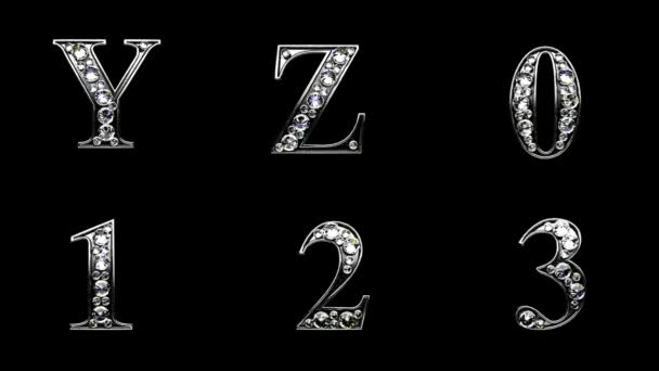Loop alpha matted diamonds alphabet set — Vídeo de stock