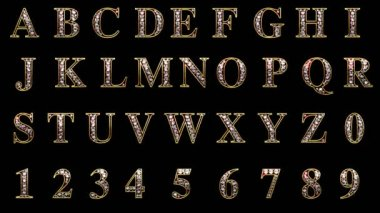 Loop alpha matted diamonds alphabet set — Stock Video
