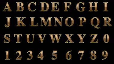 Loop alpha matted golden alphabet with wood — 图库视频影像