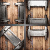 Vector metal and wood background set — Stock Vector