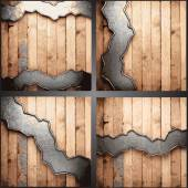 Vector wood and metal background set — Stock Vector