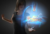 Woman and hologram with roentgen procedure — Stock Photo