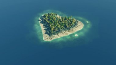 Heart shaped paradise island at ocean — Stock Video