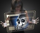 Woman and hologram with skull — Stock Photo