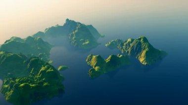 Aerial over a tropical archipelago — Stock Video