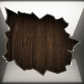 Wooden background with metal element — Stok fotoğraf