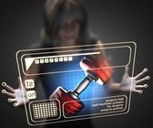 Woman and hologram with dumbbell — Stockfoto