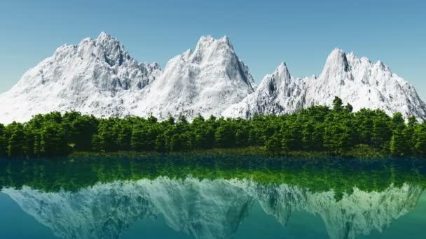 Hermosa montaña lago con el reflejo de las montañas más cercanas — Vídeo de stock