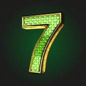 7 green letter with gold — Wektor stockowy