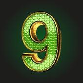 9 green letter with gold — Cтоковый вектор