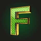 F green letter with gold — Stock Vector
