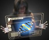 Woman and hologram with DNA — Stock Photo