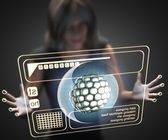 Woman and hologram with cell — Stock Photo