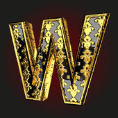 W vector black letter with gold — Stock Vector