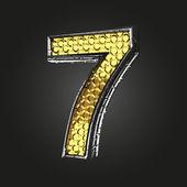 Золотые и серебряные письмо 7 вектор — Cтоковый вектор