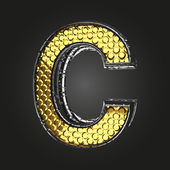 C vector golden and silver letter — Cтоковый вектор