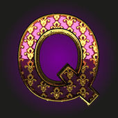 Q  vector violet letter with gold — Vector de stock