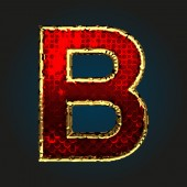 B vector red letter with gold — Stock Vector