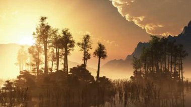 Trees on mountain lake islands. sunset with sunbeams — Stock Video