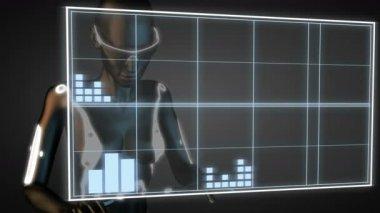 Robot manipulatihg hologram display — Stock Video