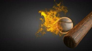 Baseball burning ball — Stock Video
