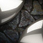 Metaal en stenen achtergrond — Stockfoto