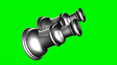 Loop rotate retro binocular on green chromakey — Stock Video