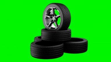 Rotate wheels on green chromakey — Stock Video