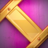 Yellow metal and pink wood background — Stock Photo