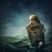 Corvo seduto su una pietra tombale — Foto Stock