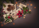 Christmas vintage presents — Stock Photo