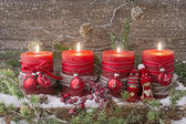 Four christmas candle — 图库照片