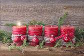 Four red christmas candle — Foto de Stock